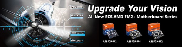 ECS A78F2P-M2, A58F2P-M4, and A55F2P-M2 AMD FM2+ Platform Motherboards Announced
