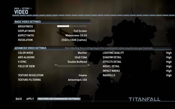 TitanFall Video Options PC