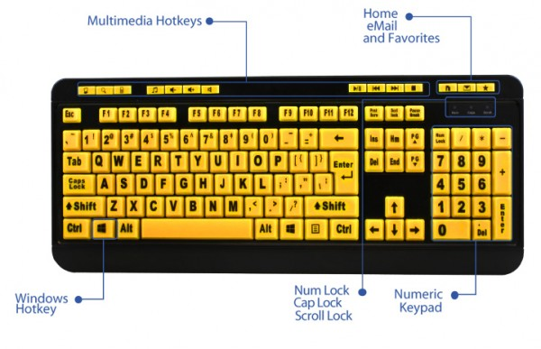 Adesso EasyTouch 132 Luminous 4X Large Print Desktop Keyboard Launched