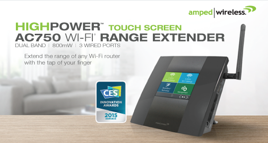Amped Wireless TAP-EX2 Touch Screen AC750 Wi-Fi Range Extender Introduced