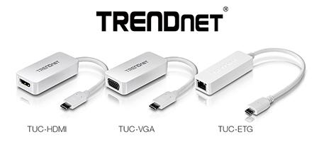 TRENDnet TUC-HDMI, TUC-VGA, and TUC-ETG USB-C Adapters Announced