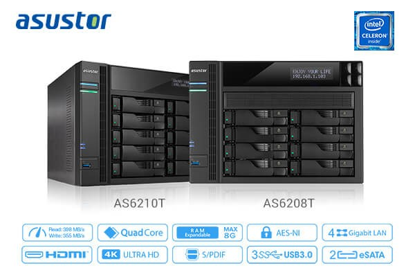 ASUSTOR AS6208T and AS6210T High Capacity NAS Launched