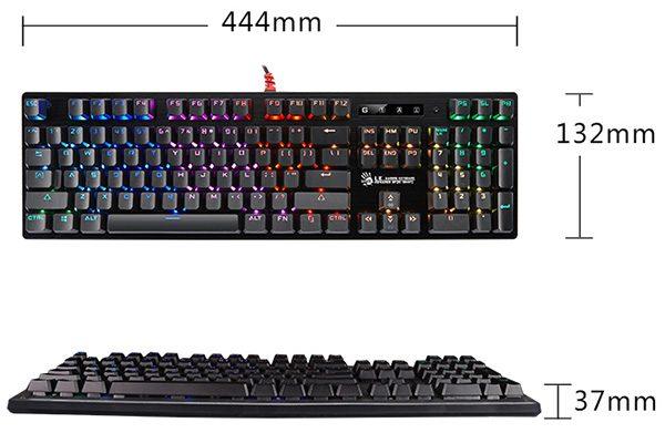 B820R Gaming Keyboard Dimensions