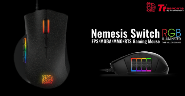 Tt eSPORTS NEMESIS Switch Optical RGB MOBA/MMO Gaming Mouse Introduced