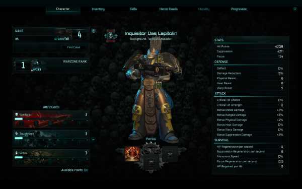 Warhammer 40,000 Inquisitor - Martyr Review Character Attributes