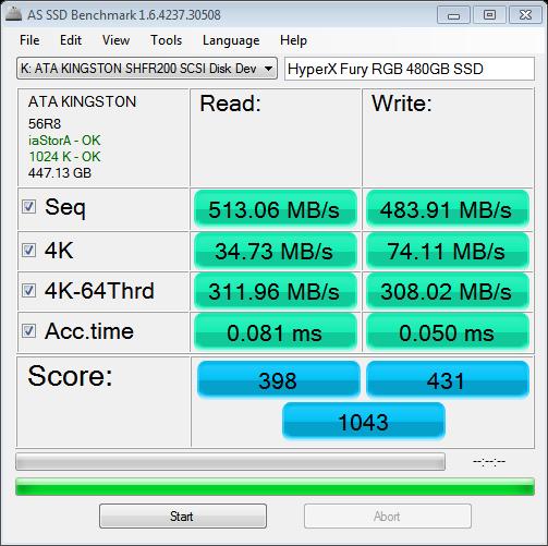 as-ssd-bench Kingston HyperX Fury RGB 480GB SSD