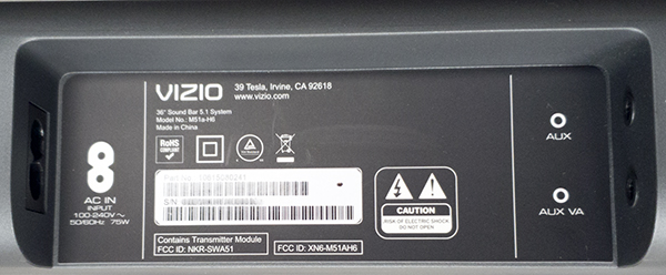 VIZIO M-Series 5.1 Home Theater Sound Bar M51a-H6 Power AUX Connection